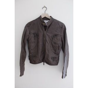 •MAX STUDIO BROWN FAUX LEATHER MOTO BOMBER JACKET•